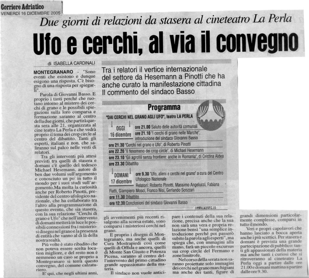Corriere Adriatico - 16 dicembre 2005